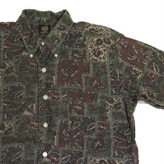 60's SEARS  Batik Print COTTON S/S B.D.Shirts (L) シアーズ コットンボタンダウンシャツ 総柄 バティック柄