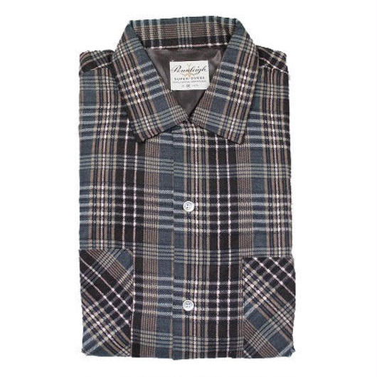 NOS 60's Pennleigh PLAID COTTON PRINTED FLANNEL SHIRTS (M) デッドストック ループカラー チェック コットン プリントフランネルシャツ