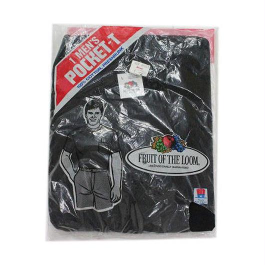 NOS 80's FRUIT OF THE ROOM  T-Shirts with Pocket BLK(L) デッドストック フルーツ オブ ザ ルーム コットン ポケットTシャツ ポケT 黒