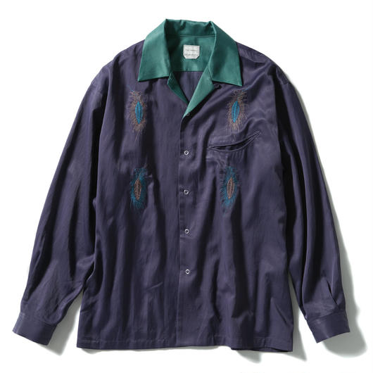 FEATHER WORK OPEN COLLAR SHIRT【MENS】
