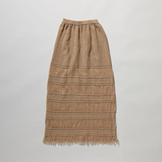 BORDER FRINGE KNIT SKIRT【WOMENS】
