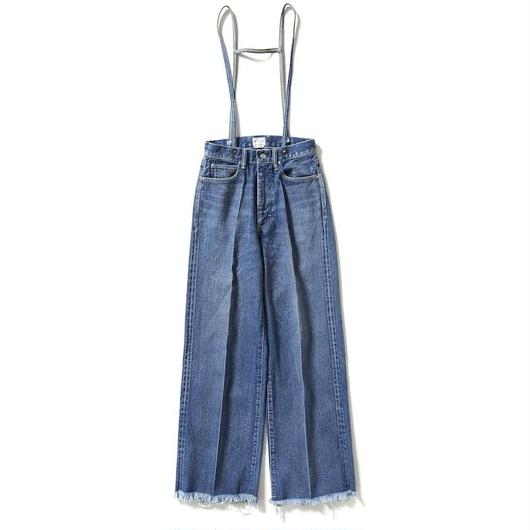 SUSPENDERS DENIM WIDE PANTS 【WOMENS】