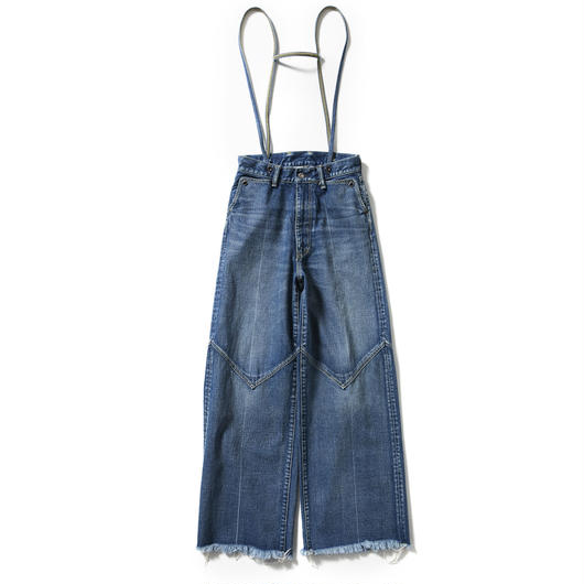 SUSPENDERS DENIM WESTERN WIDE PANTS【WOMENS】