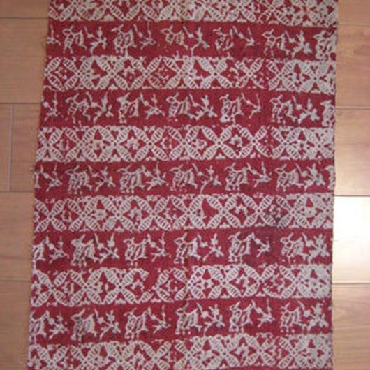 インド更紗 鬼更紗 赤横縞兎紋 端布
