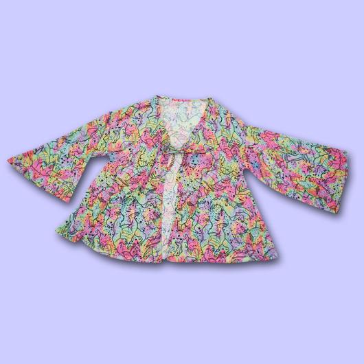 【予約商品 7月中旬からお届け】RETRO MONSTER ALL OVER PRINT Chiffon Gown