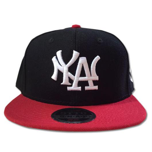 NY.LAスナップバックキャップN.Y.ATTITUDE MLBサンプリングキャップBK/RED 黒赤 90sHIPHOP/スケートボード