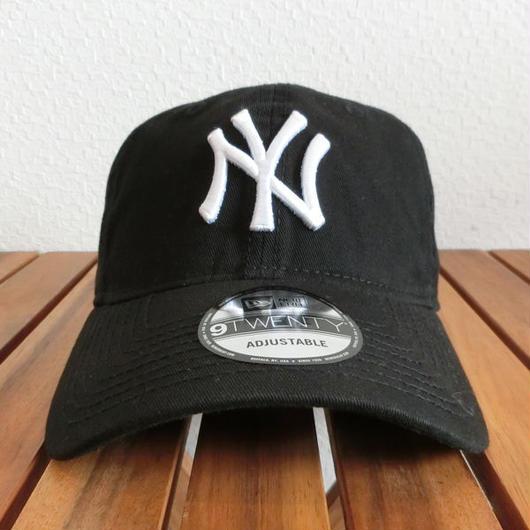 Newera ニューエラ 9TWENTY Cloth Strap ウォッシュドコットン ニューヨーク・ヤンキース ブラック× ホワイト