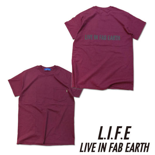L.I.F.E [ LIVE IN FAB EARTH ](ライフ)PKS Tシャツ バーガンディー