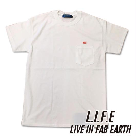 [アウトレット]限られたセレクトショップで展開するL.I.F.E [ LIVE IN FAB EARTH ](ライフ)LIFE Tシャツ ホワイト【スケートボードアパレル】