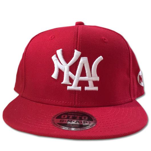 NY.LAスナップバックキャップN.Y.ATTITUDE MLBサンプリングキャップRED赤 90sHIPHOP/スケートボード