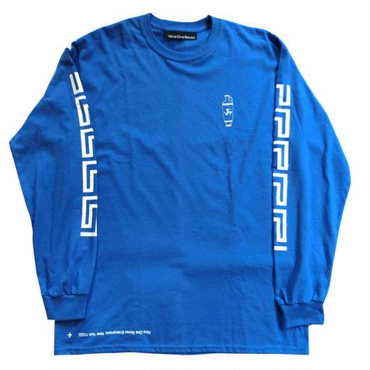Call me917 Nine One Seven Skateboard Coffee L/S Tシャツ ブルー ロンT