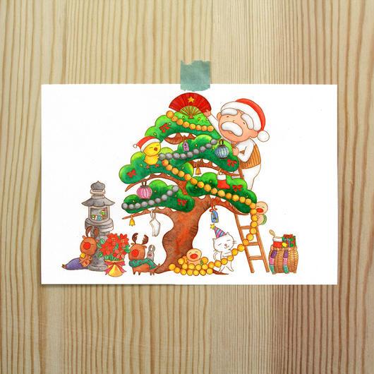 ポストカード じーさんシリーズ 「じーさんのクリスマスツリー」