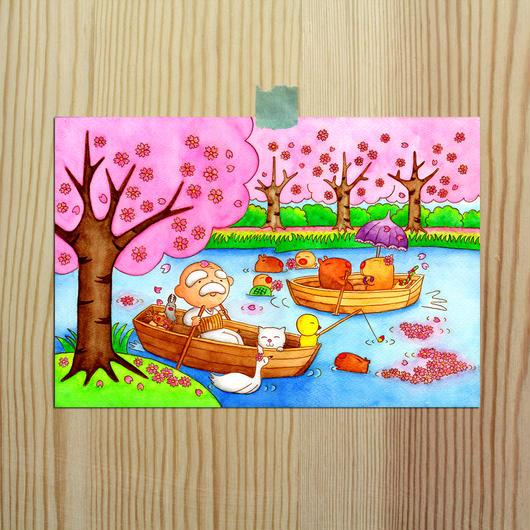 ポストカード(バガスパルプ紙使用)じーさんシリーズ 「カピバラさんとお花見」