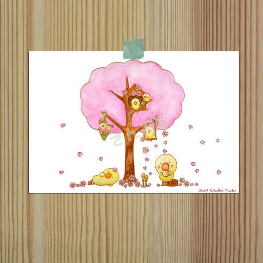 ポストカーポストカード (バガスパルプ紙使用)ひよこシリーズ 「桜」