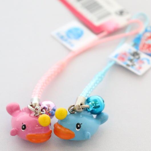 あんこうちゃんストラップ(根付け・ブルー&ピンク)セット