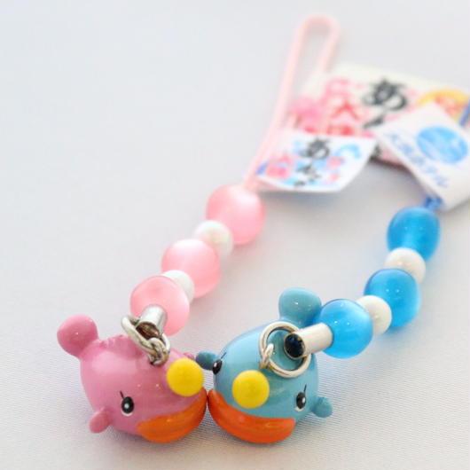 あんこうちゃんストラップ(ビーズ・ブルー&ピンク)セット