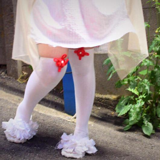 足袋ニーハイ<ホワイト/レッド>