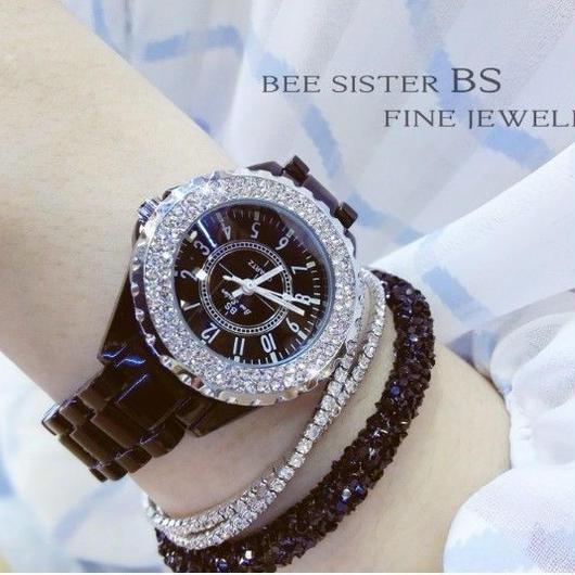 BS bee sister ラインストーンベゼル腕時計 レディース ブラック ホワイトセラミック