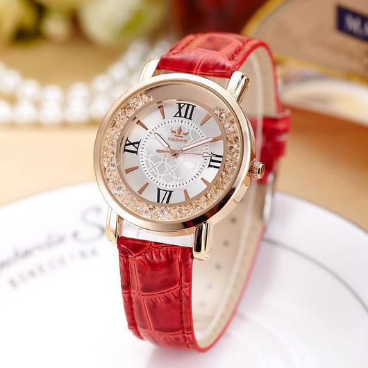 fourron レディース クォーツ腕時計 レザーストラップ
