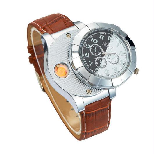 メンズ2in1 時計 ターボライター 風防 USB充電 クォーツ腕時計 シンプル