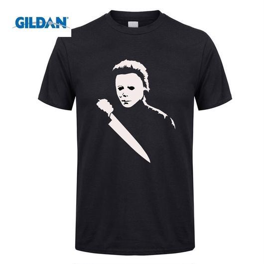 ハロウィーン マイケルマイヤーズ (Halloween Michael Myers)ソリッドホラー映画ハロウィンマスクTシャツ 4