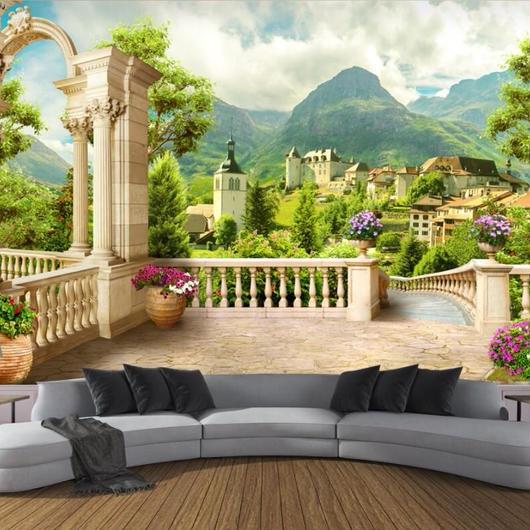 3D 壁紙 1ピース 1㎡ ヨーロッパ 自然風景 田舎の町並 インテリア 部屋装飾 耐水 防湿 防音
