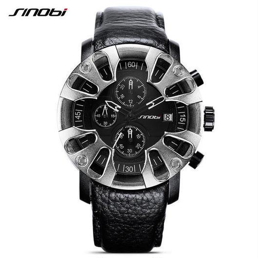 Sinobi メンズ クォーツ腕時計 防水 クロノグラフ ソフトレザーストラップ