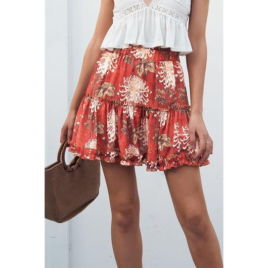Simplee 花柄ミニスカート レディースAライン カジュアルビーチ夏のスカート