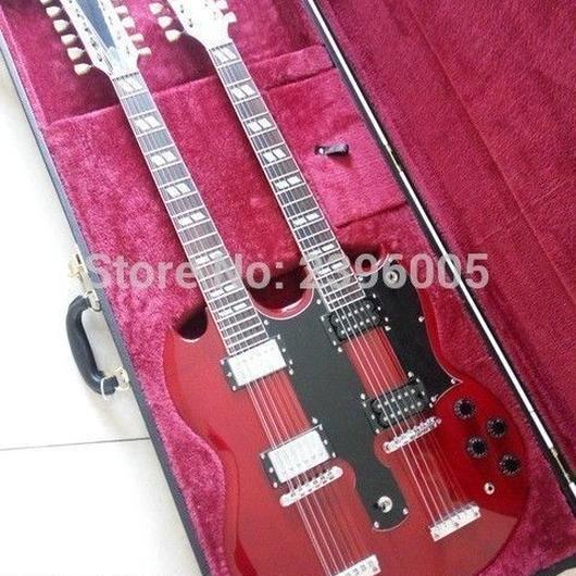 エレキギター 40インチ ダブルネック 本体 セット 弦 レッド 楽器 バンド 新品