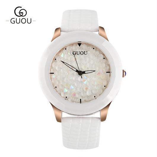 GUOU 腕時計 レディース ファッションカラーストーン キラキラ