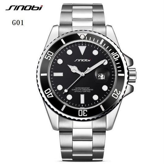 Sinobi メンズ クォーツ腕時計 防水 カレンダー