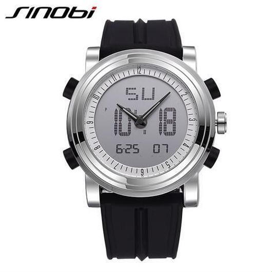 Sinobi メンズ クォーツ腕時計 防水 クロノグラフ シリコンバンド