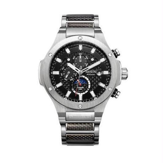 ウブロ好きの方に NESUN 自動巻き 機械式腕時計 メンズ サファイアクリスタル ルミナスハンズ カラバリ3色 ステンレス