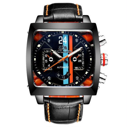 PAULAREIS P メンズ 機械式腕時計 防水 カジュアル レザーバンド