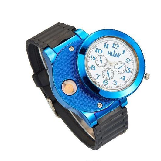 2カラー展開 2in1時計 ターボライター クォーツ腕時計 防風フレーム 充電式USB スポーツライターウォッチ