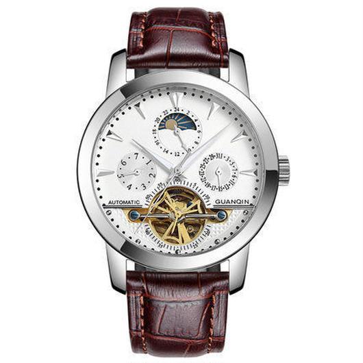 GUANQIN トゥールビヨン腕時計 メンズ レザークロコの型押し スチール