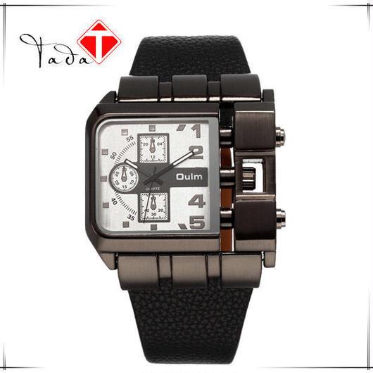 Oulm クォーツ腕時計 レザーバンド