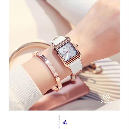 GUOU 腕時計 レディース 長方形レトロクォーツ