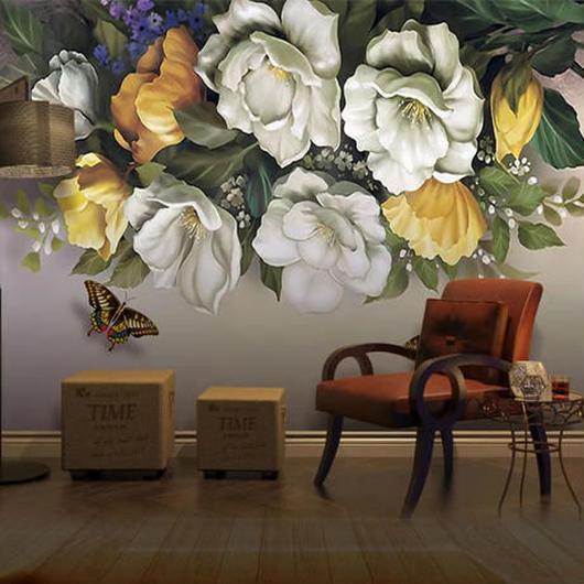 3D 壁紙 1ピース 1㎡ ヨーロッパ レトロ 花 アゲハ蝶 インテリア 部屋装飾 耐水 防湿 防音