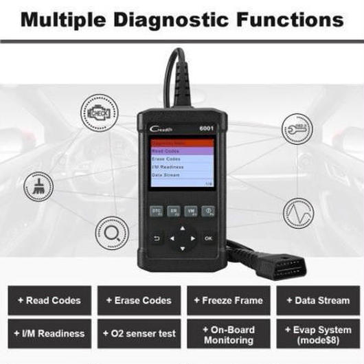 送料無料!Launch CR6001 OBD2故障診断機 スキャナー コード読取り&消去 DTC/CO2センサー/オンボードモニター BMW/ベンツ/