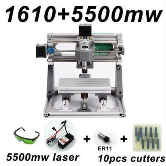 CNC1610 ミニ フライス盤+5500mWセット DIY 組み立てキット 3軸 木彫り彫刻機 レーザー彫刻機