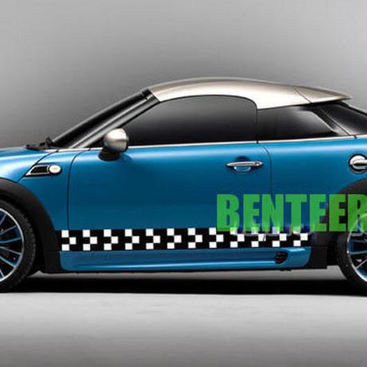 【送料無料!】ミニクーパー 185cm MINI Cooper Clubman ステッカー サイド ボディ チェック R F h00403【新品】
