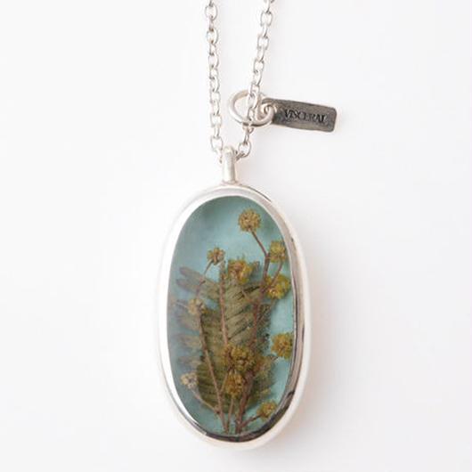 Herbarium Necklace  ・Mimosa・(Sky Blue)