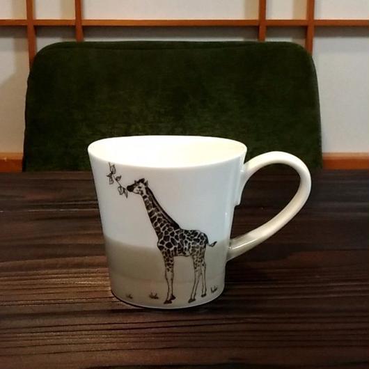 """美濃焼 200cc""""楕円形""""アニマルマグ 【Made in Japan 陶磁器マグ】- キリン"""