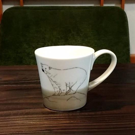 """美濃焼 200cc""""楕円形""""アニマルマグ 【Made in Japan 陶磁器マグ】- シロクマ"""