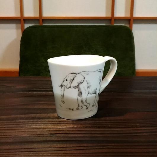 """美濃焼 200cc""""楕円形""""アニマルマグ 【Made in Japan 陶磁器マグ】- ゾウ"""