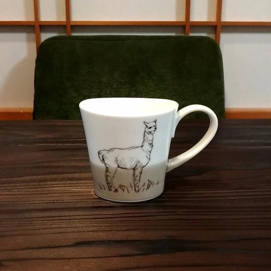 """美濃焼 200cc""""楕円形""""アニマルマグ 【Made in Japan 陶磁器マグ】- アルパカ"""