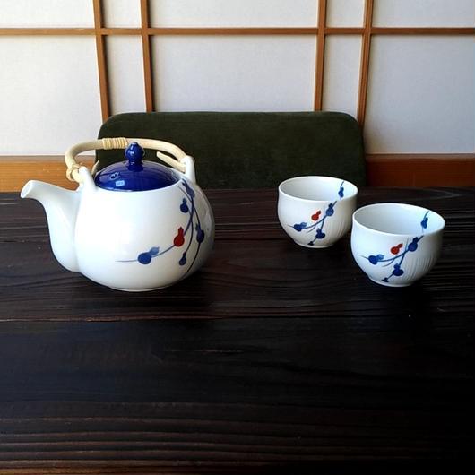 美濃焼 茶器揃い3点セット (400cc急須&90cc 湯呑) 開運のひょうたんを染付【Made in Japan 陶磁器茶器揃い】