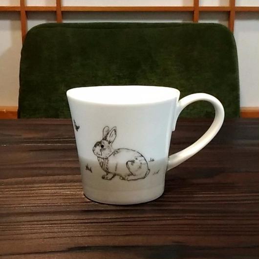 """美濃焼 200cc""""楕円形""""アニマルマグ 【Made in Japan 陶磁器マグ】- ウサギ"""