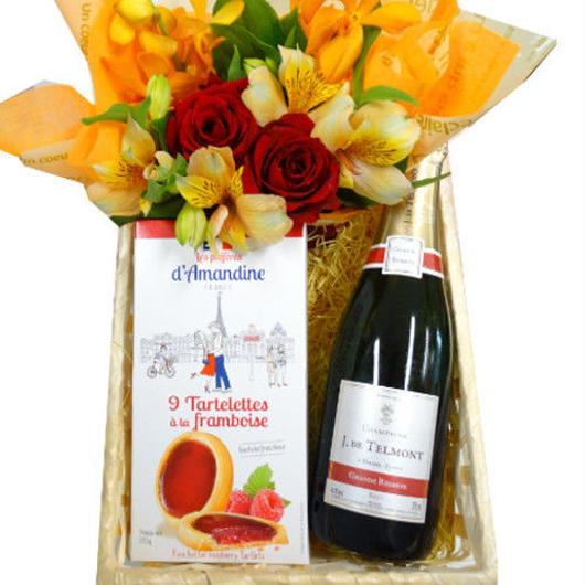シャンパン、スイーツとお花のセット 辛口 シャンパーニュ ハーフサイズボトル フランスのラズベリークッキ 黄色とオレンジのフラワー